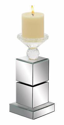 Contemporary Rectangle Wood Pillar Candle Holder Chrome Mirr