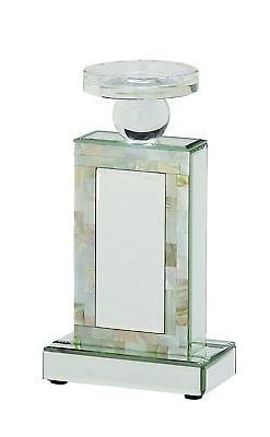 """Deco 79 87378 Glass Mirror Mop Candle Holder, 6"""" x 11"""""""