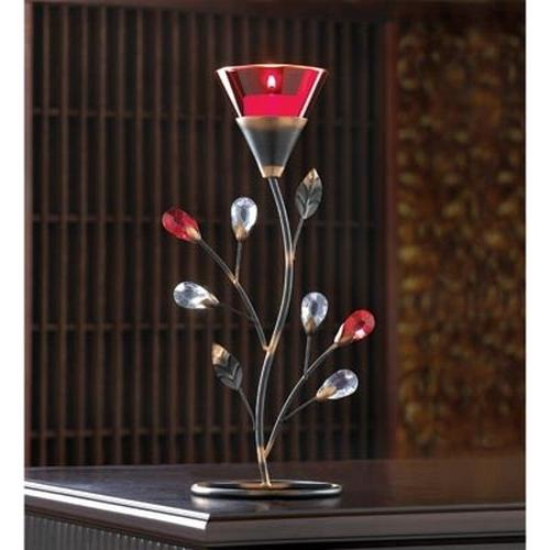 Gifts /& Decor Ruby Blossom Tealight Candle Holder Wall Sconce Decor