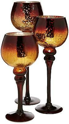 Home Essentials Mercury Chocolate Hurricanes Candle Holders,