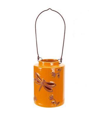 """Melrose 12.5"""" Orange Cut-Out Dragonfly Tea Light or Votive C"""