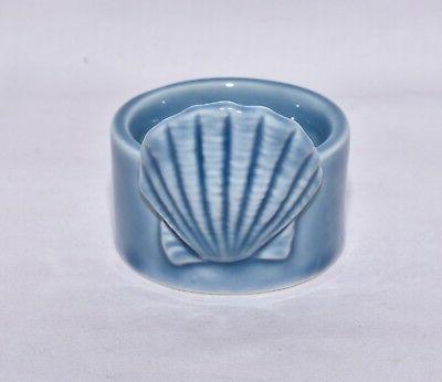 NEW BLUE CLAM SHELL SEASHELL CERAMIC TEA LIGHT TEALIGHT CAND