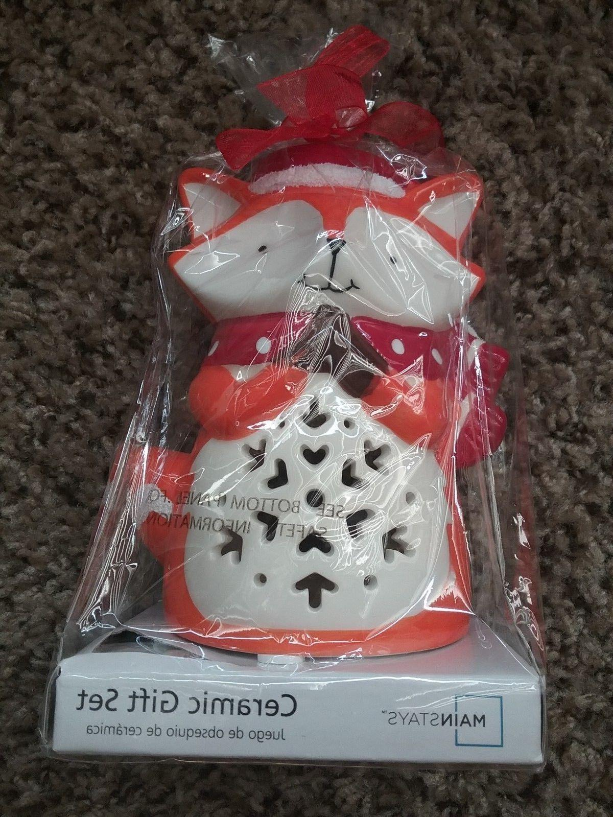 """""""New"""" Mainstay Fox Ceramic Candle Holder"""