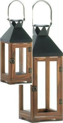SET OF 2 HARTFORD CANDLE HOLDER LANTERN DECOR ONE SMALL & ON