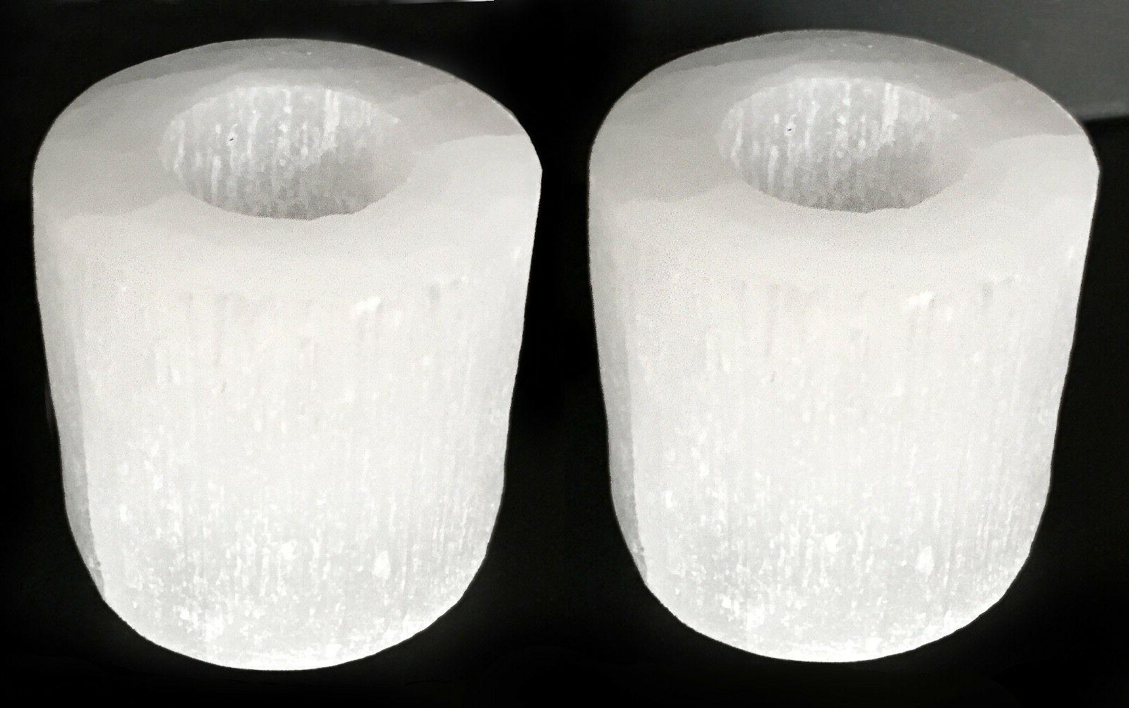 Selenite Crystal Candle Holder SET of 2 HANDMADE Protect Hea