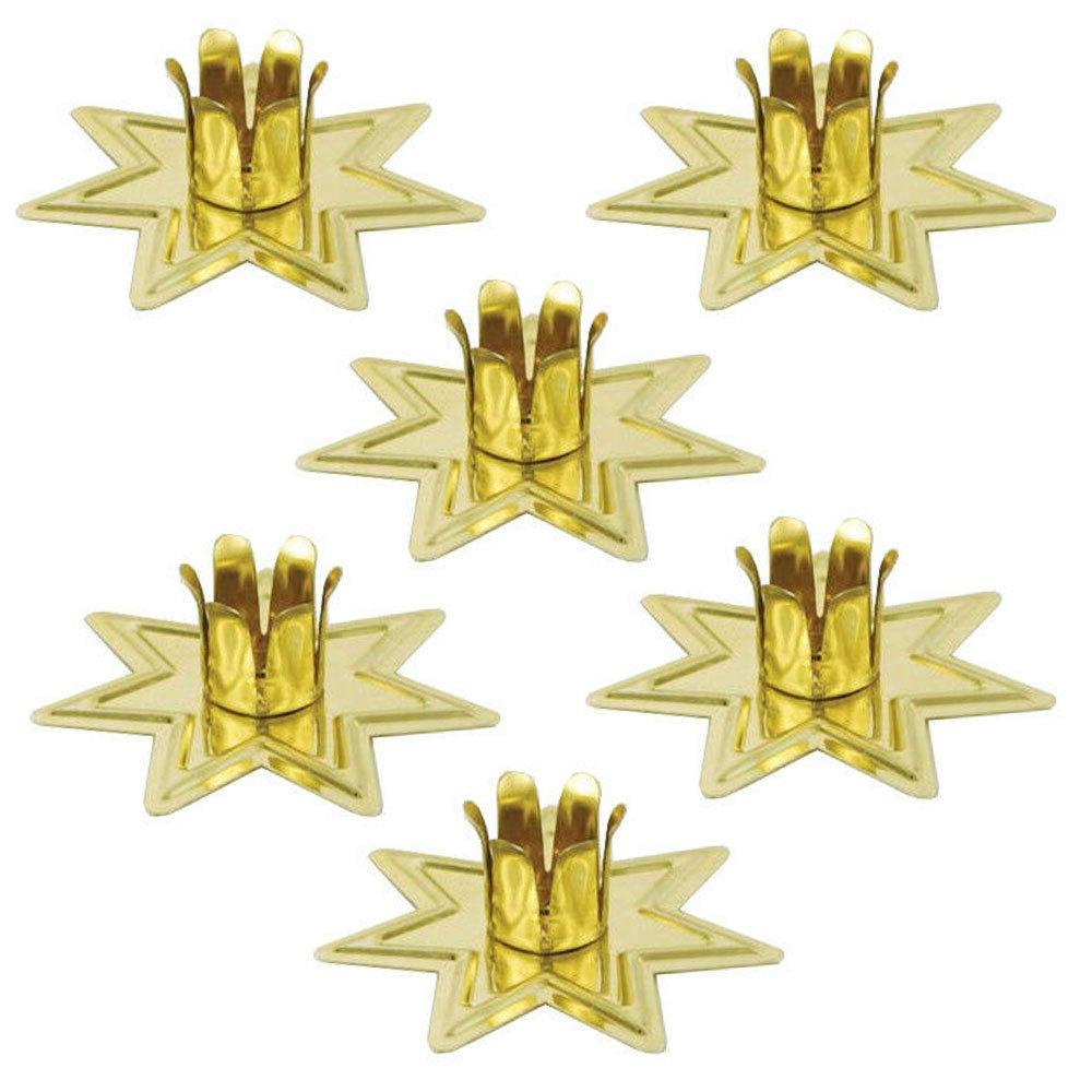 "Set of 6 Gold Fairy Star Chime Candle Holders for 4"" Mini Ta"