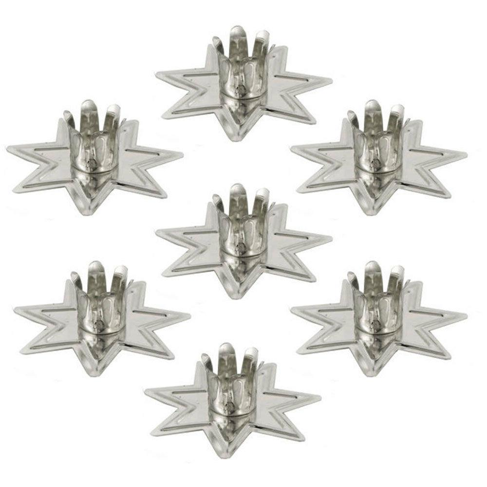 "Set of 7 Silver Fairy Star Chime Candle Holders 4"" Mini Tape"