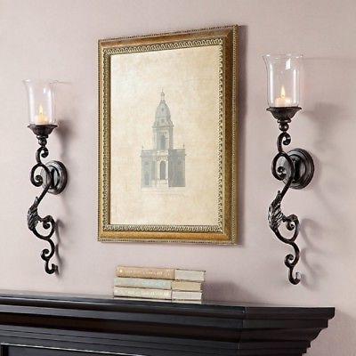 Tuscan Scroll & Leaf  Wall Sconce Candleholder Hurricane Can