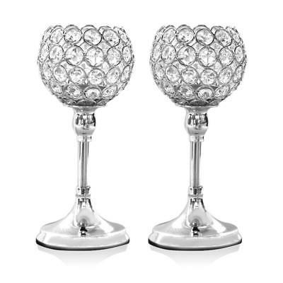 VINCIGANT 2PCS Silver Crystal Modern Candle Holders for Anni