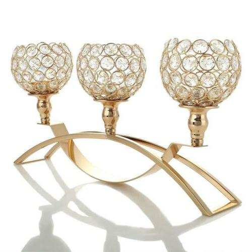 VINCIGANT Gold Crystal Candle Holders / 3-Candle Candelabras