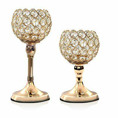 VINCIGANT Gold Crystal Candle Holders Set of 2 Modern Weddin
