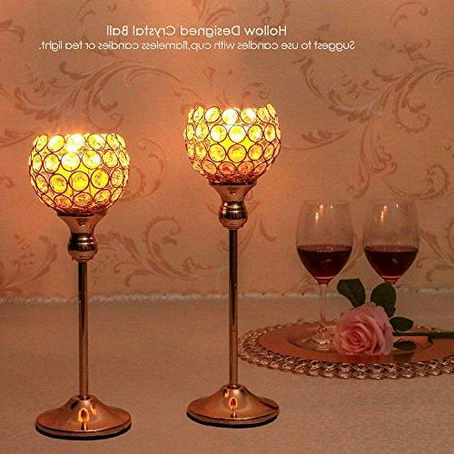 Crystal Holders/Sparklers Candelabra for Housewarming Room Table Decorative Centerpiece,Set of 2