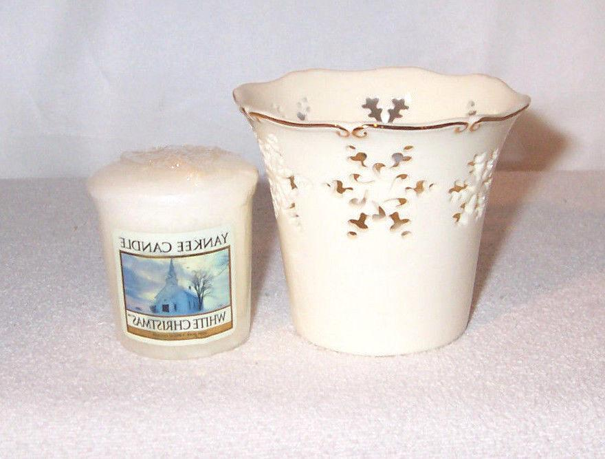 Yankee Candle Holiday Ceramic SNOWFLAKE Cut-Out Votive Holde