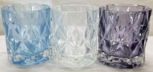 Yankee Candle Votive Holder FRACTAL BLUE PURPLE SET & 3 SURP