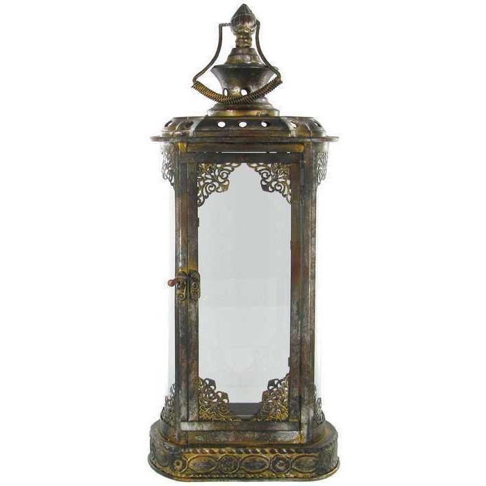 Antique Vintage Gold Metal & Glass Large Charm Rectangle Lan