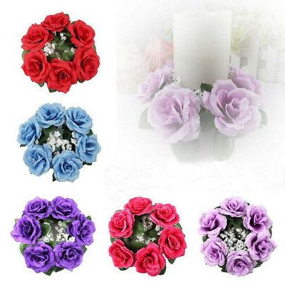 Artificial Flower Floral Candle Ring Holder Wedding Tabletop