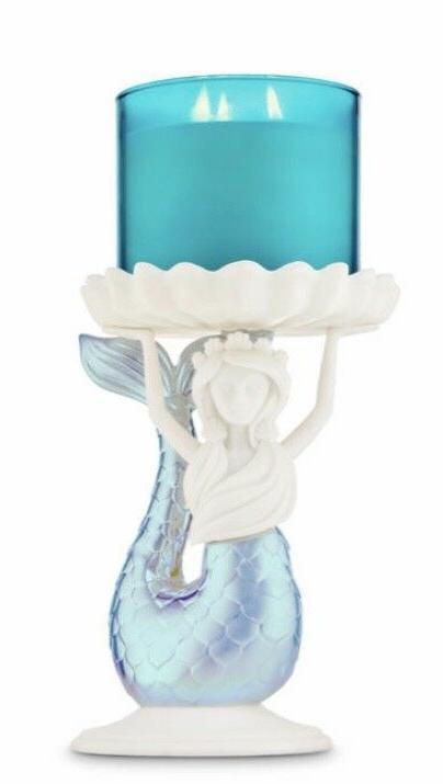 BATH WORKS IRIDESCENT MERMAID PEDESTAL CANDLE