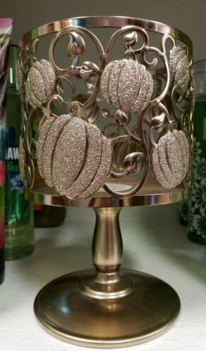 BATH WORKS SHIMMER LARGE CANDLE HOLDER BRONZE