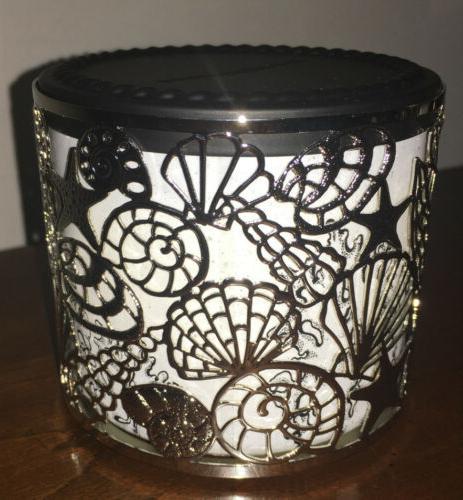 Bath Sparkling Seashells Shells 3-Wick Candle Holder New