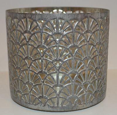 BATH BODY WORKS FANS SILVER GRAY METAL LARGE 3 WICK CANDLE H