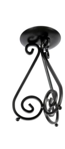 Black iron scroll pillar candle holder 8 1/2 Inch