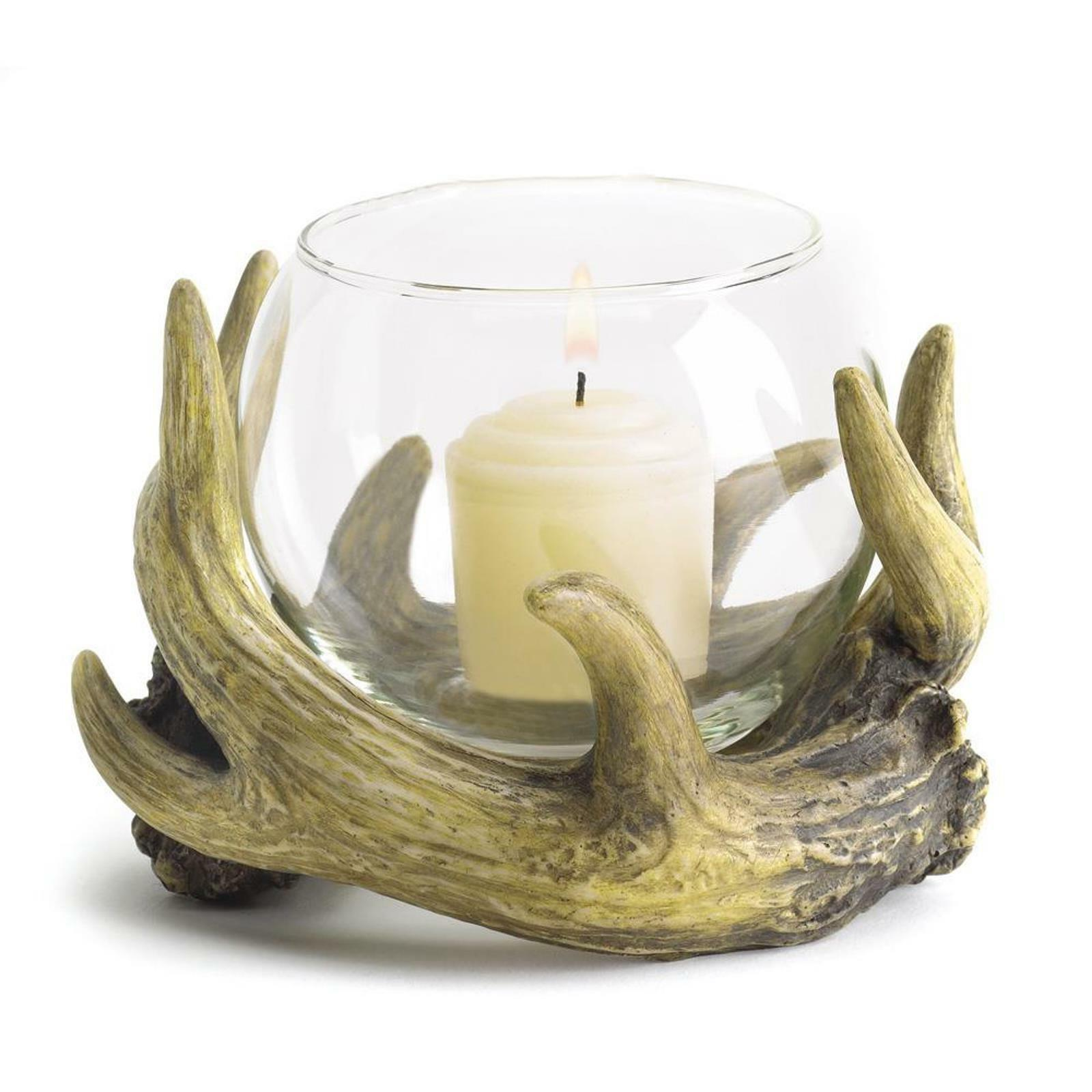 BULK LOTS Rustic Antler Themed Polystone and Glass Votive Ca