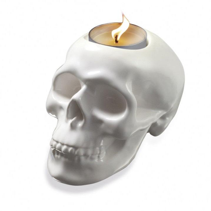 burnie ceramic skull tea light candle holder