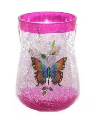 butterfly glass candle holder in multicolor