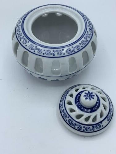 BOMBAY CANDLE HOLDER BLUE & CAGE WITH AND Never used