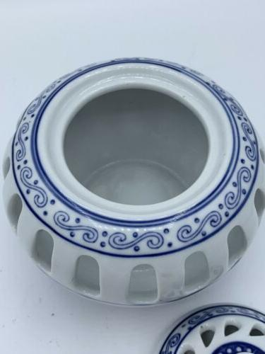 BOMBAY CANDLE ASIAN BLUE WHITE WITH Never used