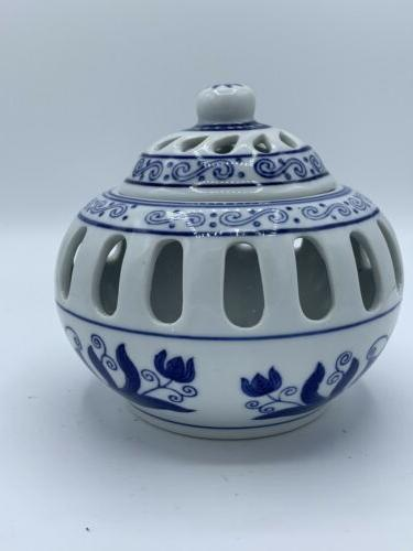 candle holder asian blue and white cage
