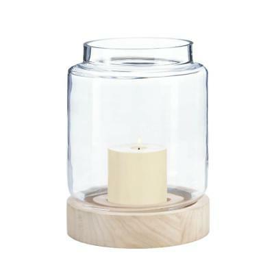 Candle Holder Large Coastal Cabin Hurricane Glass And Wood L