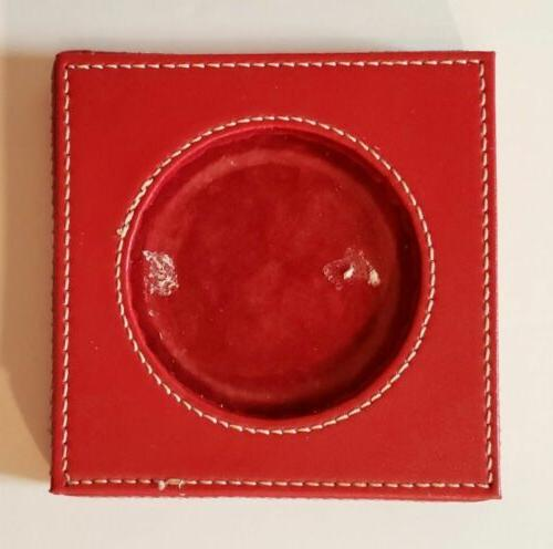 candle holder red faux leather with white