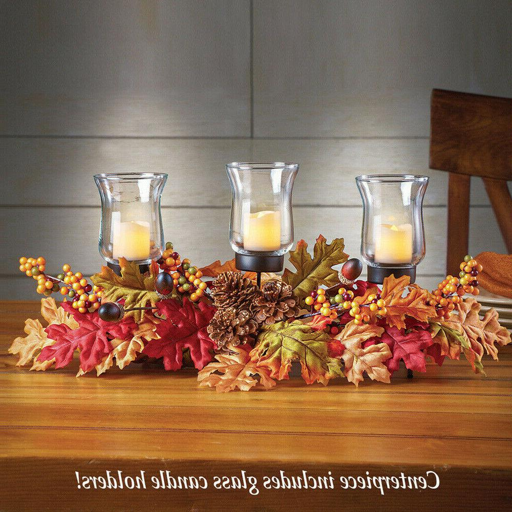Fall Centerpiece Decoration Candle Holder Tabletop Autumn Ho