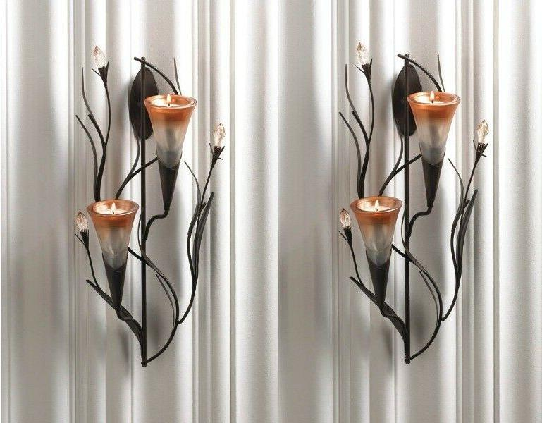 Candle Wall Sconce Holder 2 Set Decor Metal Pair Iron Sconce
