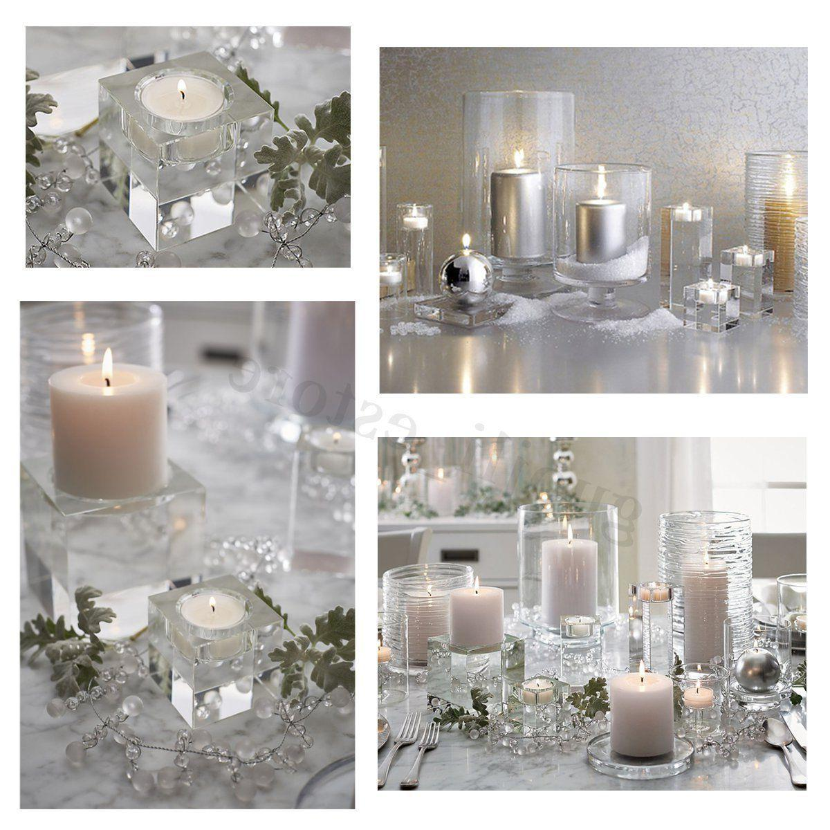 Clear Cube Crystal Glass Candle Holder Stand Candlestick Wedding Decor