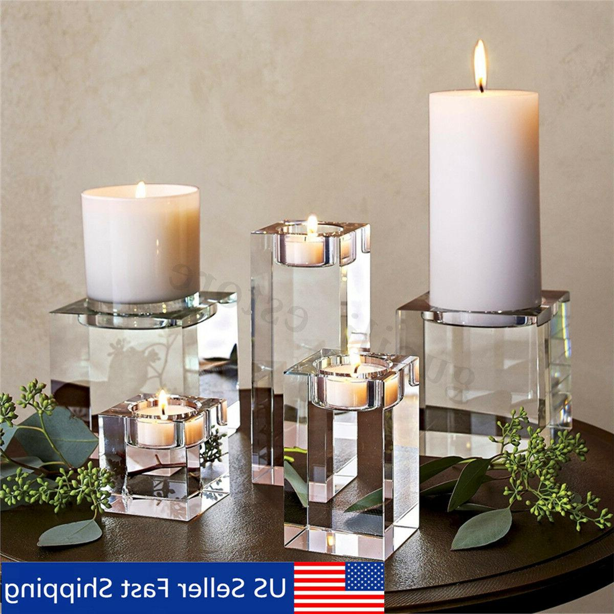 clear cube crystal glass candle holder tea