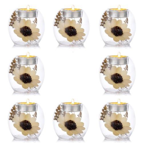Sziqiqi Clear Glass Tea Light Candle Holders, 2 Kinds of Usa
