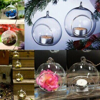 Clear Hanging Glass Bauble Ball Tealight Candle Holder Weddi