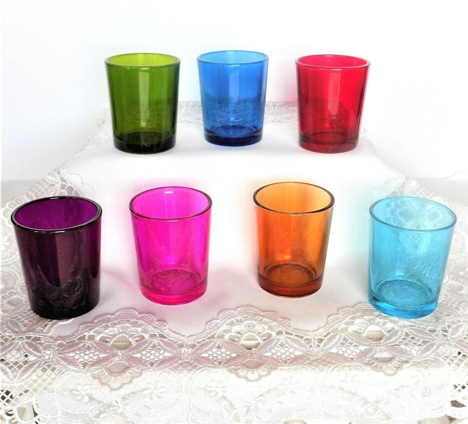 colored glass votive candle holder collection