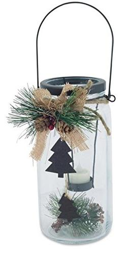 "9.75"" Country Cabin Glass Jar with Dangling Tree Accent Chri"