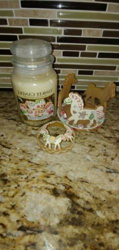 Yankee Candle Cream Colored Ponies holder, top, and candle N