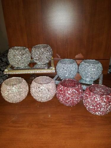 crushed glass candle holders