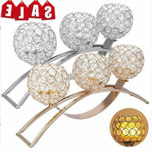 crystal ball 3 arms tea lights candle
