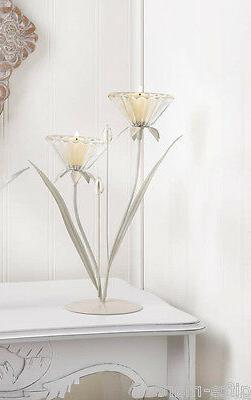 crystal clear glass Lilly flower modern art statue tea-light