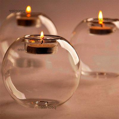 Crystal Glass Round Candle Tea Light Holder Candlestick Part