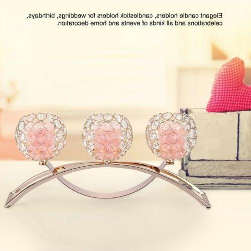 Crystal Tea Candlestick Table Decor Silver Gold