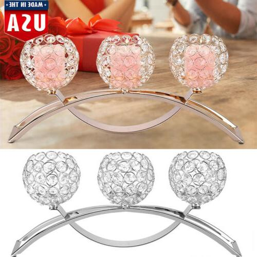 Crystal Ball 3 Tea Candle Holder Candlestick Silver Gold