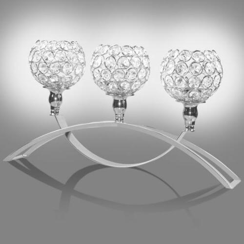 Crystal Pillar Candle Holder Candlestick Centerpieces