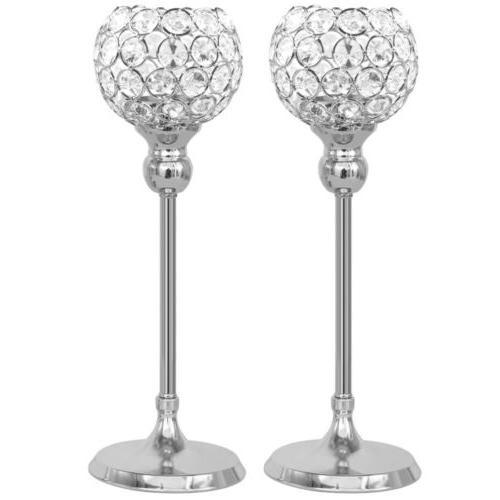Crystal Pillar Holder Candlestick Centerpieces